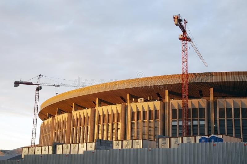 Olympic Stadium byggnad i Moskva under konstruktion royaltyfri bild