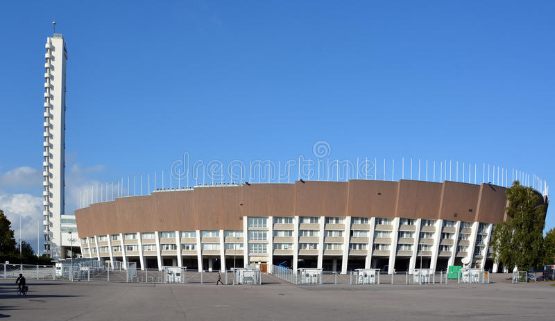 (Olympic stadium. HELSINKI FINLAND SEPTEMBER 25 2015: Olympiastadion (Olympic stadium) and tower, located in the Toolo district the largest stadium in the royalty free stock images