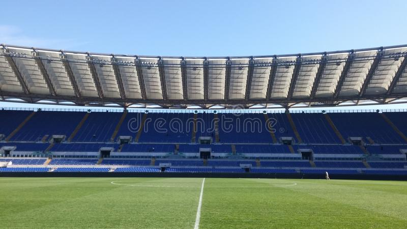 The Olympic Stadium. On the pitch of the Olympic Stadium of Rome stock photography