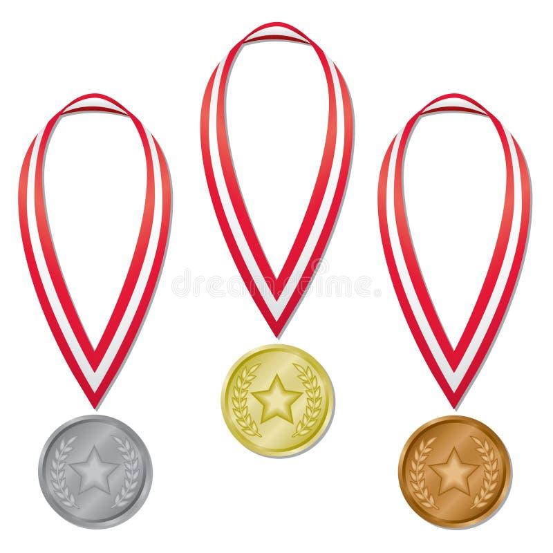 olympic stjärna för lagrarmedaljer royaltyfri illustrationer