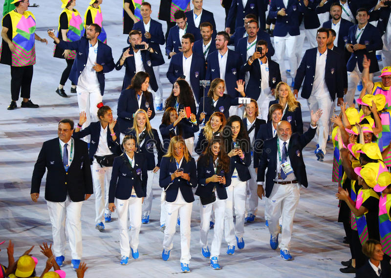 Olympic team Greece marched into the Rio 2016 Olympics opening ceremony at Maracana Stadium in Rio de Janeiro. RIO DE JANEIRO, BRAZIL - AUGUST 5, 2016: Olympic stock images