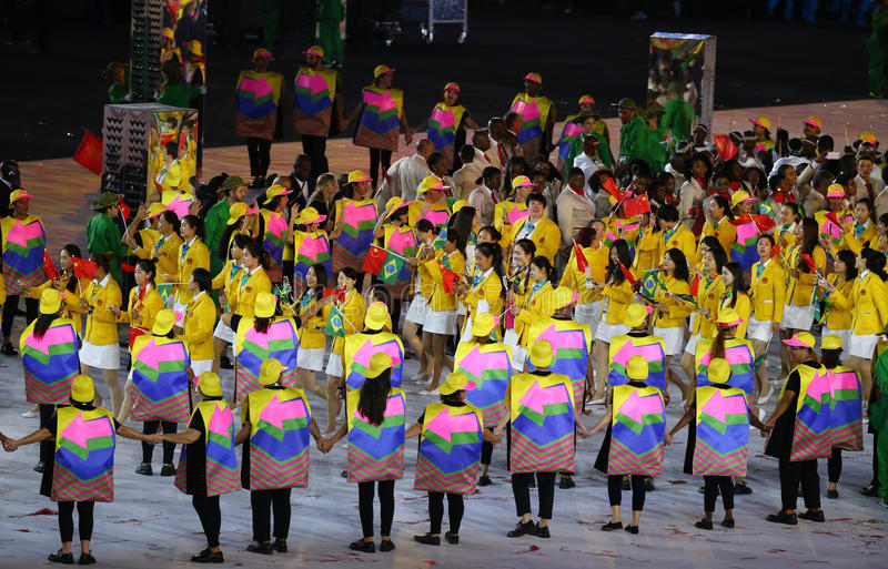 Olympic team The People`s Republic of China marched into the Rio 2016 Olympics opening ceremony stock images