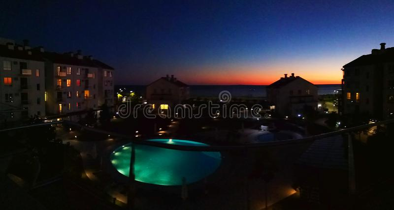 Olympic village in Sochi at sunset. black sea. royalty free stock images