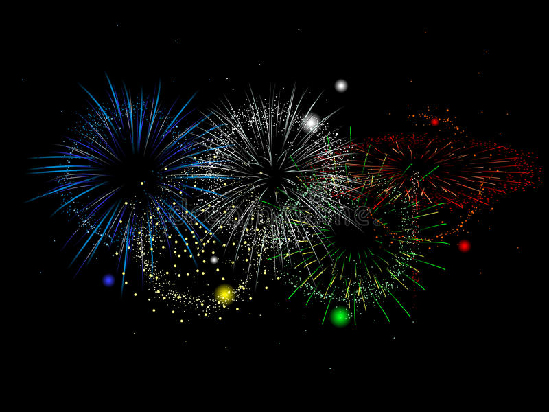 Olympics colored fireworks vector illustration