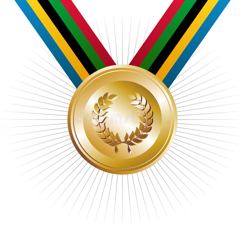 Free Olympics Games Gold Medal With Laurel Wreath Royalty Free Stock Image - 24494446