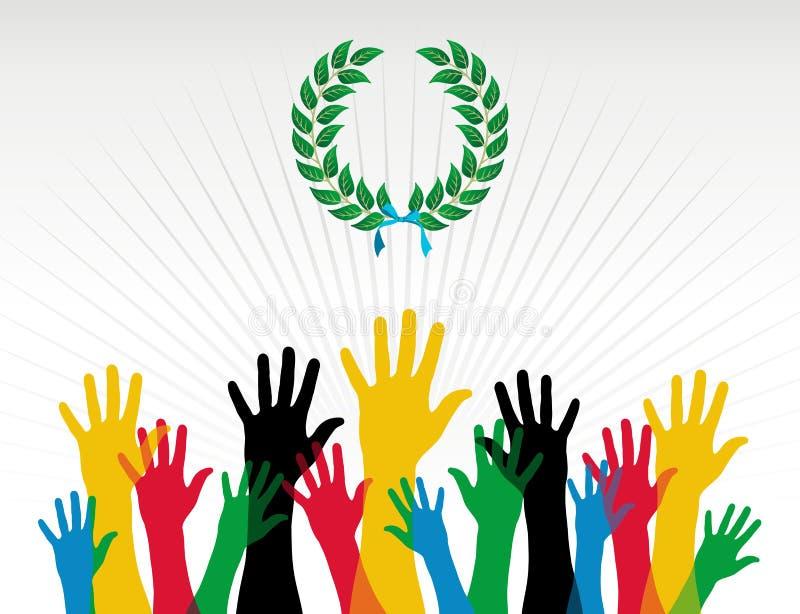 Olympicshandfarben-Lorbeer Wreath Lizenzfreies Stockfoto
