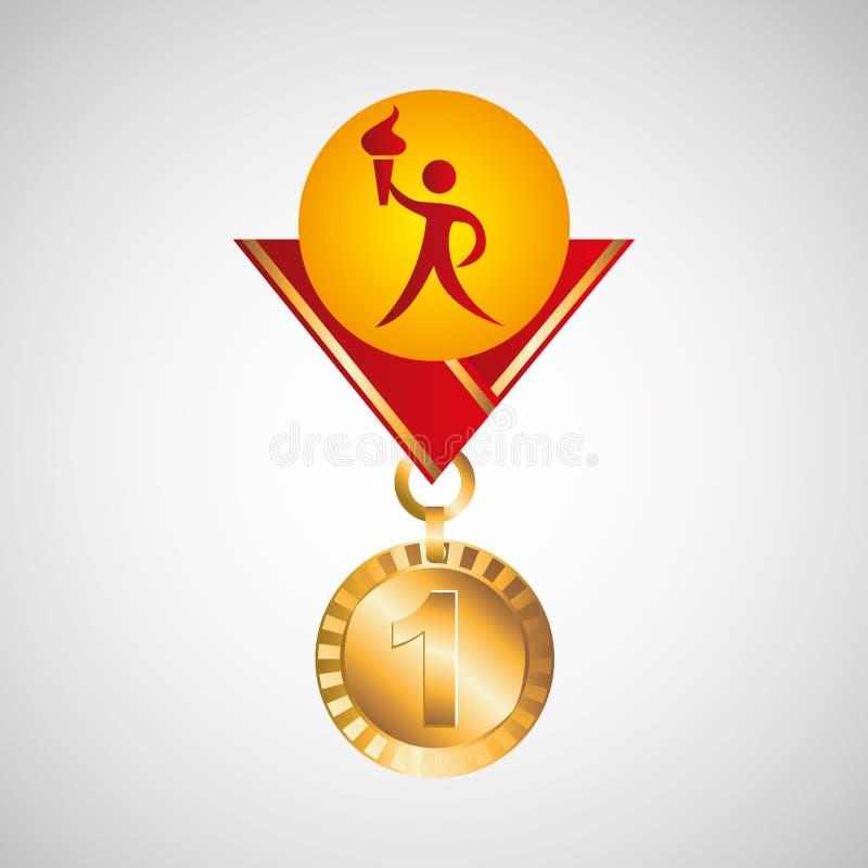 Olympisch gouden de toortspictogram van de medailleatleet stock illustratie