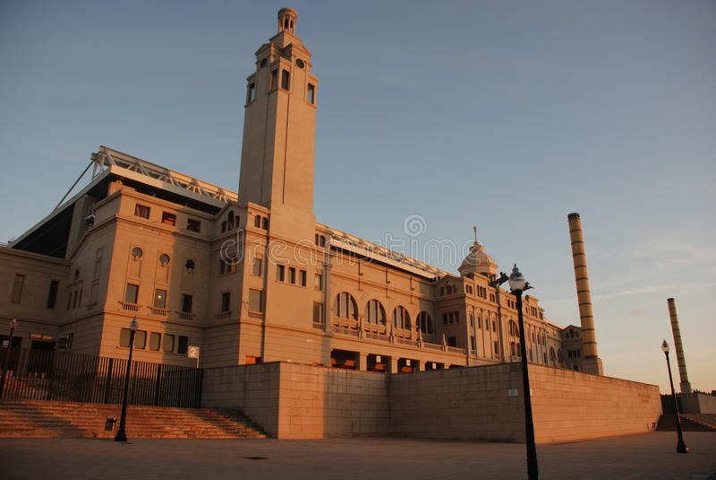 Olympisch Stadion in Montjuïc in Barcelona stock foto's
