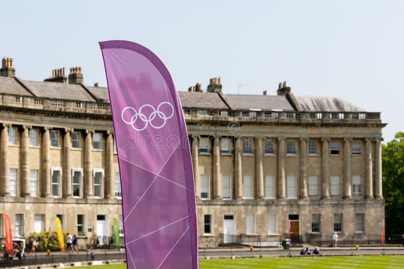 Olympisch toortsrelais 2012, Bad, het UK. stock afbeelding