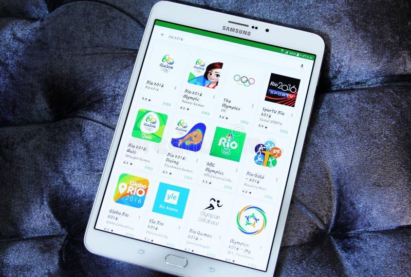 Olympische apps van spelenrio 2016 stock foto's