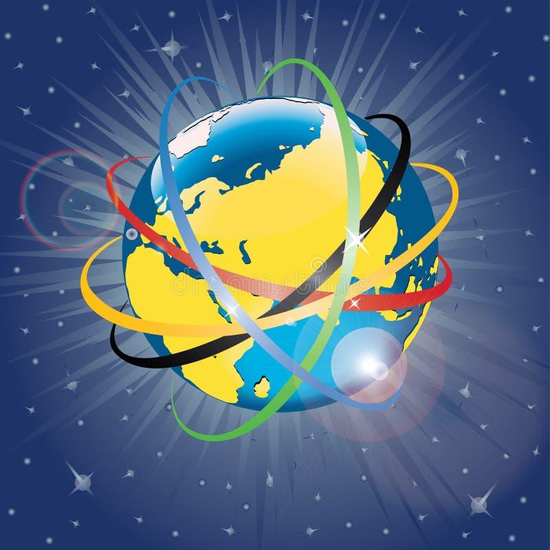 Olympische banden rond de planeet Earth.Vector Illu royalty-vrije illustratie