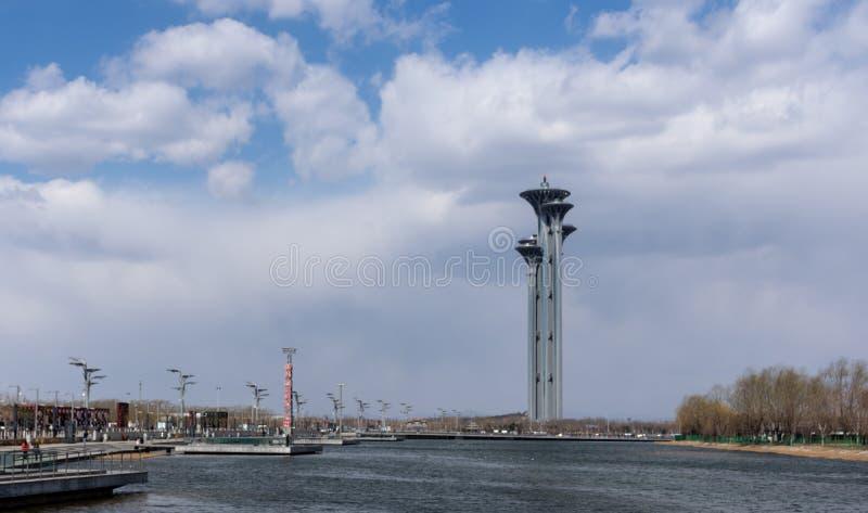 Olympische het Parkwatchtower van Peking, China stock fotografie