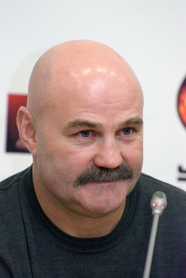 Olympische kampioen Ianovski, busbokser Rogozina royalty-vrije stock foto