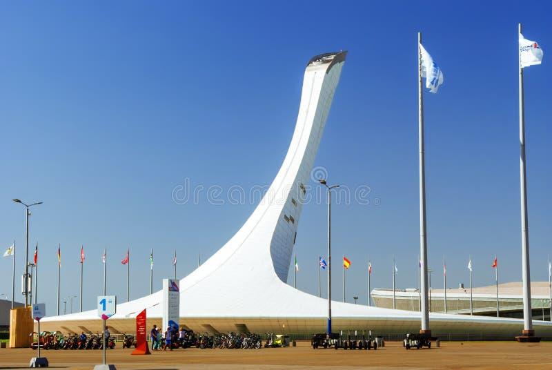 Olympische keteltoren in Sochy, Rusland royalty-vrije stock afbeelding
