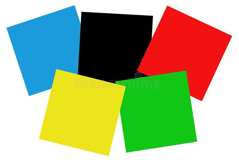 Olympische kleuren in vierkanten. royalty-vrije illustratie