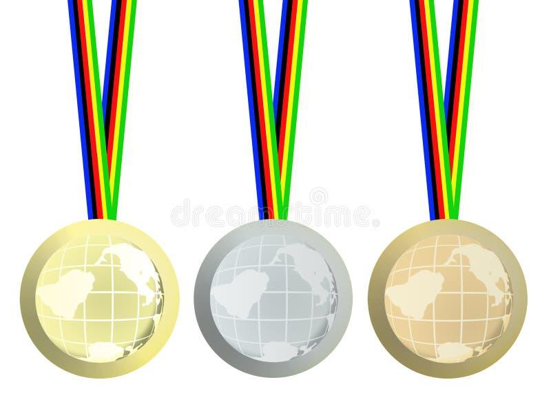Olympische medailles stock illustratie
