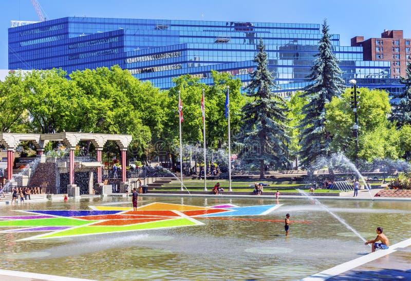 Olympische Pleinfonteinen Calgary Alberta Canada royalty-vrije stock afbeelding