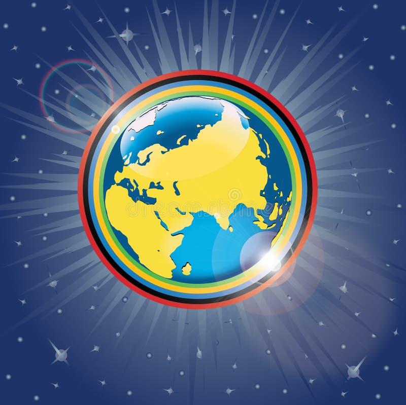Olympische ringen rond de planeet Earth.Vector Illu royalty-vrije illustratie