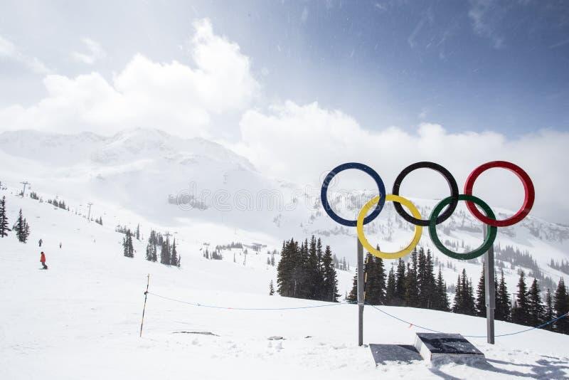 Olympische Schleifen von der Spitze von Blackcomb-Berg lizenzfreie stockfotos