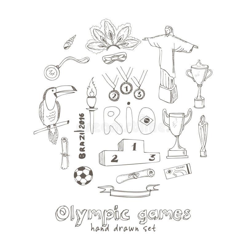 Olympische spelen Rio 2016 in Brazilië stock illustratie