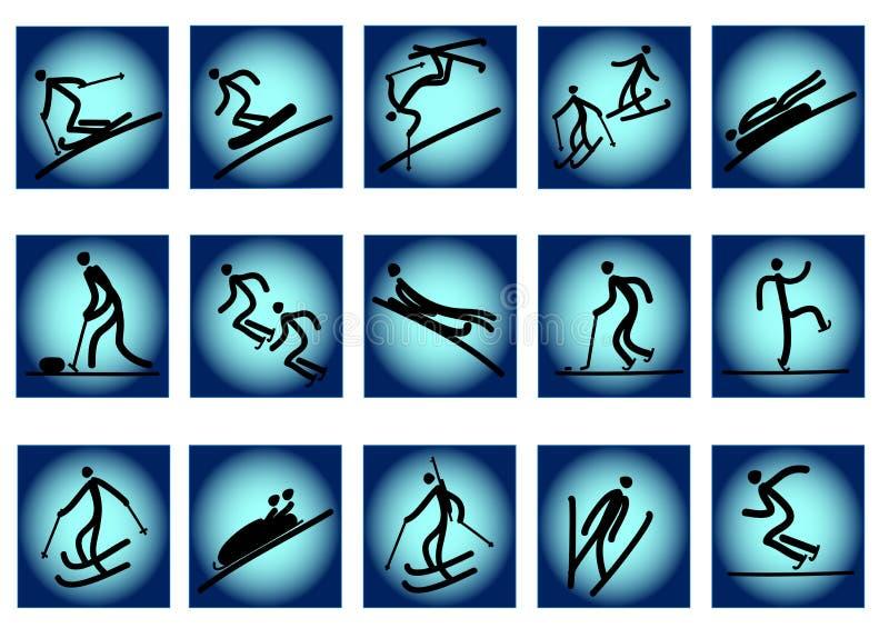 Olympische Sportikonen des Winters vektor abbildung