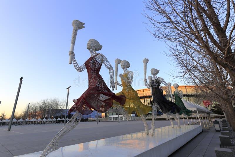Olympische sportstandbeelden in Peking royalty-vrije stock afbeeldingen