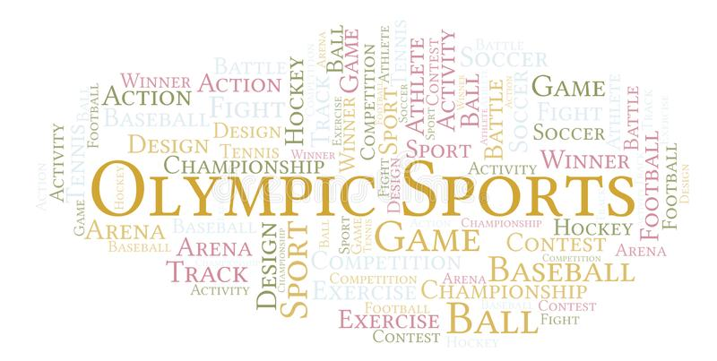 Olympische Sportwortwolke lizenzfreie abbildung
