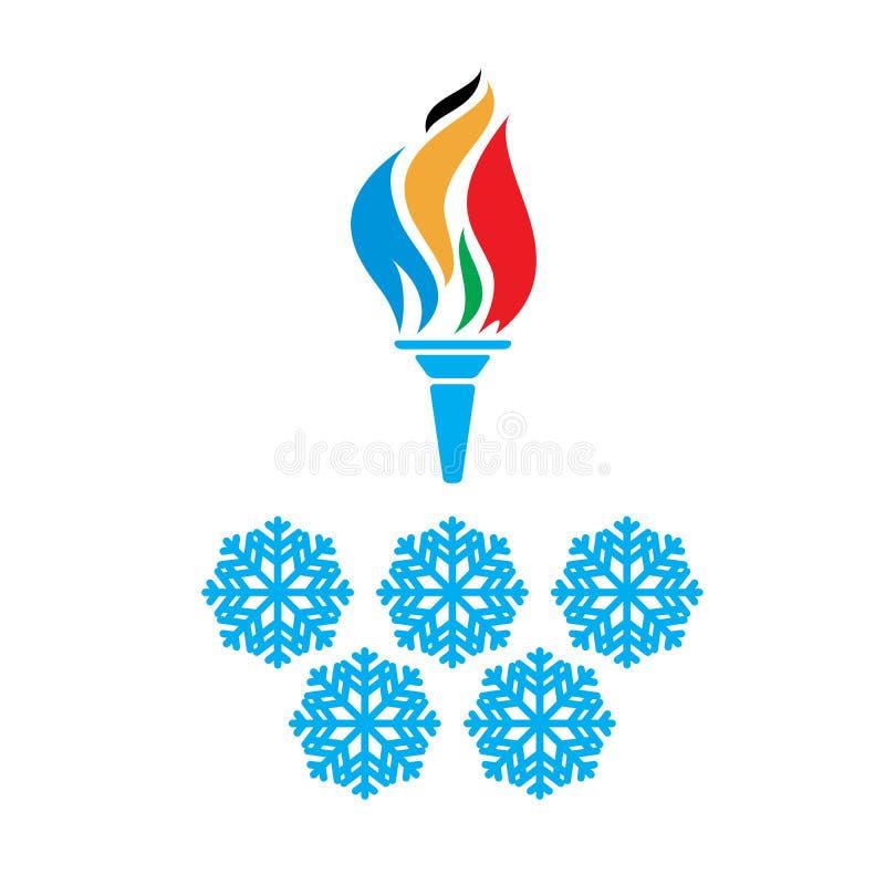 Olympische symbolentoorts en ringenvtctor stock illustratie