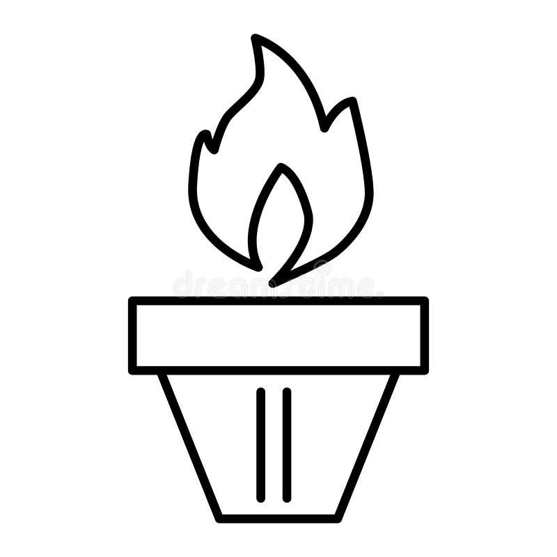 Olympische toch Flammenlinie Ikone Vektorillustration lokalisiert auf Weiß Entwurfsartdesign, bestimmt für Netz und APP ENV vektor abbildung