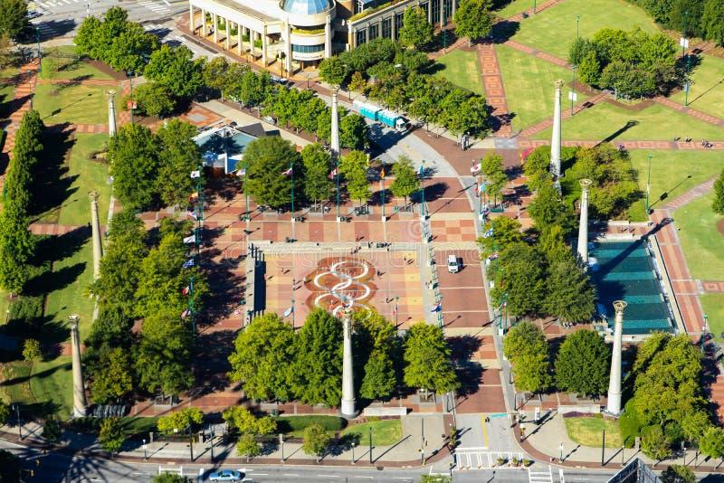 Olympischer hundertjähriger Park, im Stadtzentrum gelegenes Atlanta, GA lizenzfreies stockbild