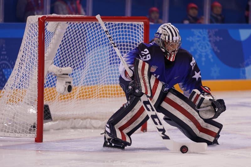 Olympischer Meister Team USA-Torhüter Nicole Hensley in der Aktion gegen Team Olympic Athlete von Russland stockbild