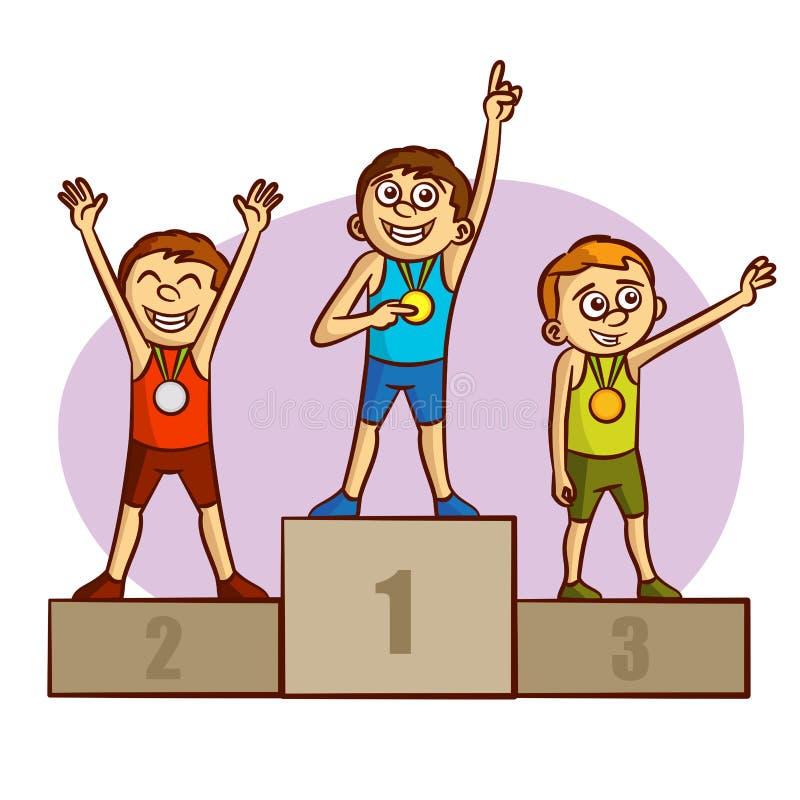 Olympischer Sport meister medaillenträger athleten vektor abbildung