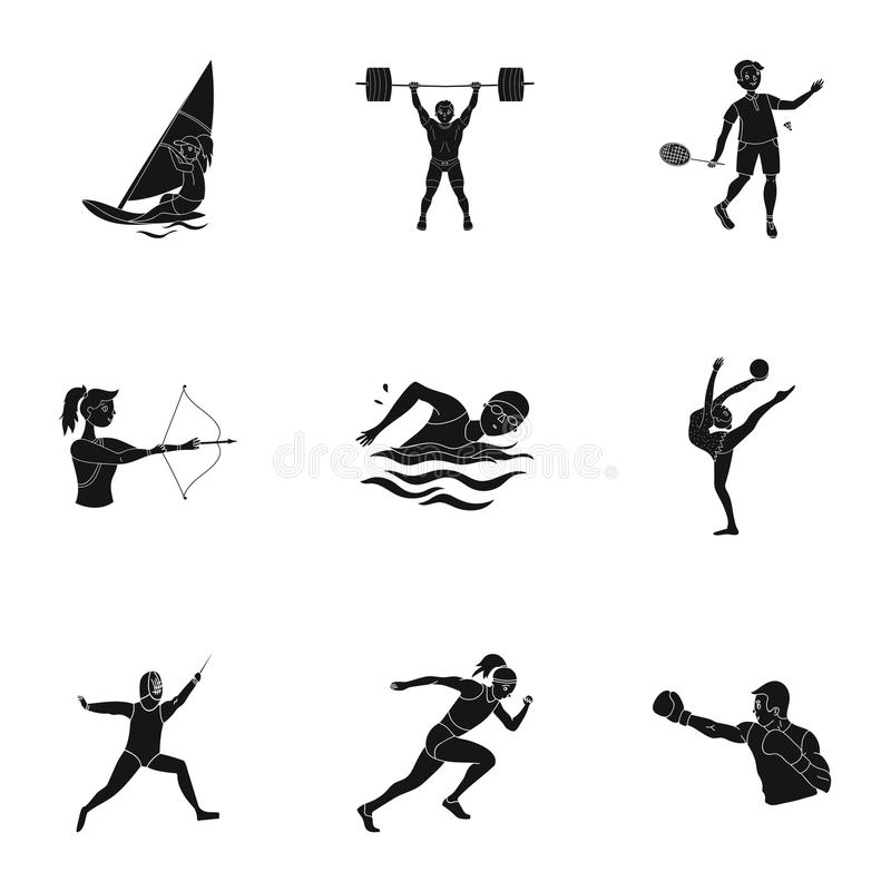 Olympischer Sport Winter- und Sommersport Ein Satz Bilder über Athleten Olympische Sportikone in der Satzsammlung an stock abbildung