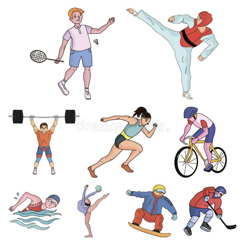 Olympischer Sport Winter- und Sommersport Ein Satz Bilder über Athleten Olympische Sportikone in der Satzsammlung an lizenzfreie abbildung