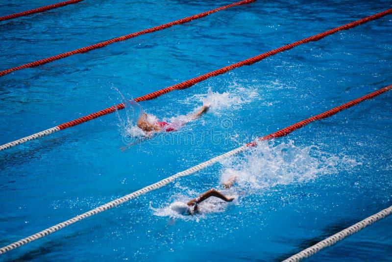 Olympischer Swimmingpool mit Schwimmerschleichenrennen stockfotografie