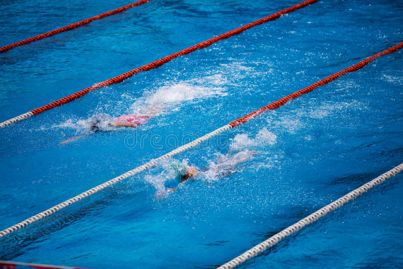 Olympischer Swimmingpool mit Schwimmerschleichenrennen stockbilder