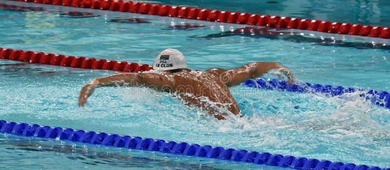 Olympischer und Weltmeisterschwimmer LE CLOS Tschad RSA lizenzfreie stockbilder