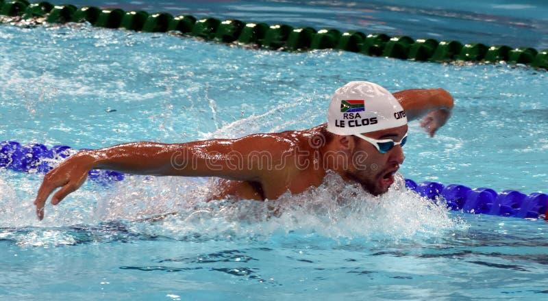 Olympischer und Weltmeisterschwimmer LE CLOS Tschad RSA lizenzfreie stockfotografie