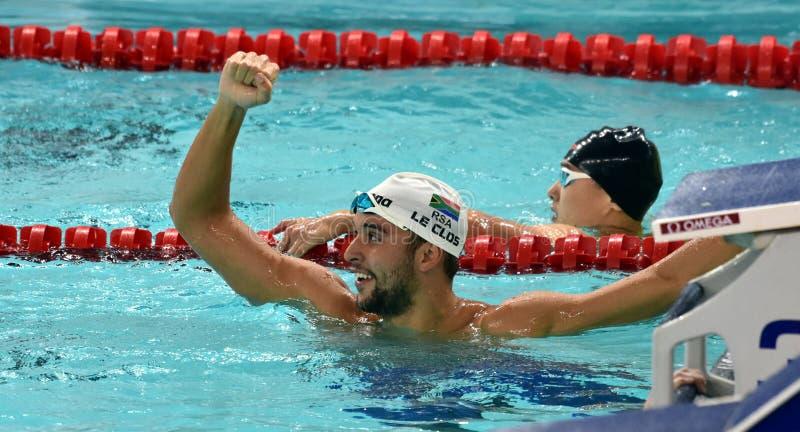 Olympischer und Weltmeisterschwimmer LE CLOS Tschad RSA stockbilder