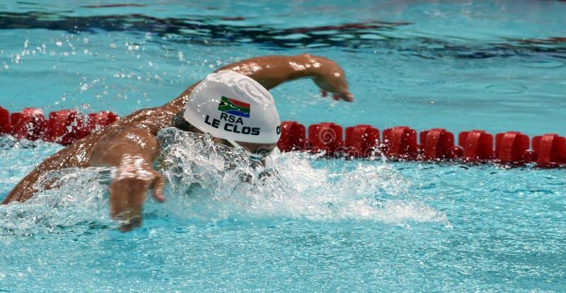 Olympischer und Weltmeisterschwimmer LE CLOS Tschad RSA stockbild