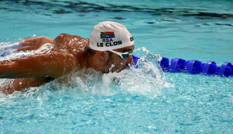 Olympischer und Weltmeisterschwimmer LE CLOS Tschad RSA lizenzfreie stockfotos