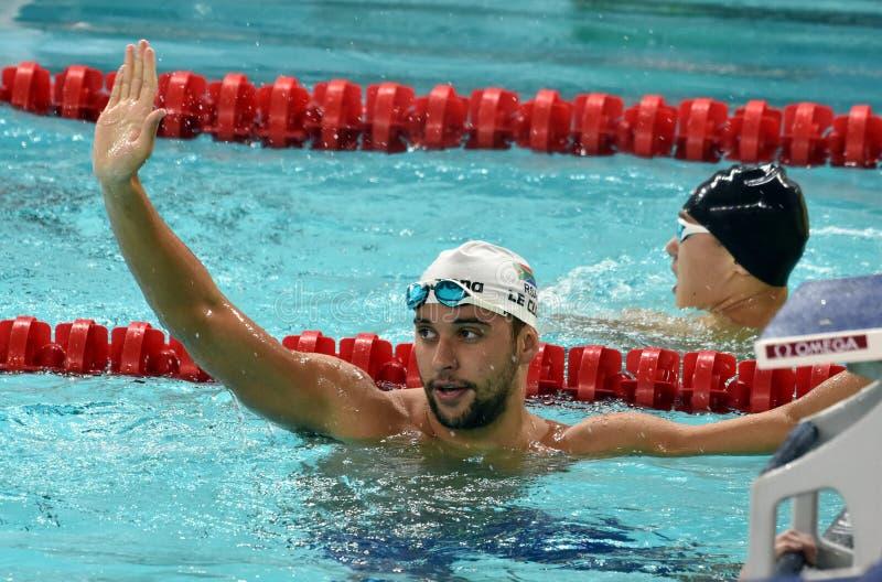 Olympischer und Weltmeisterschwimmer LE CLOS Tschad RSA lizenzfreies stockbild