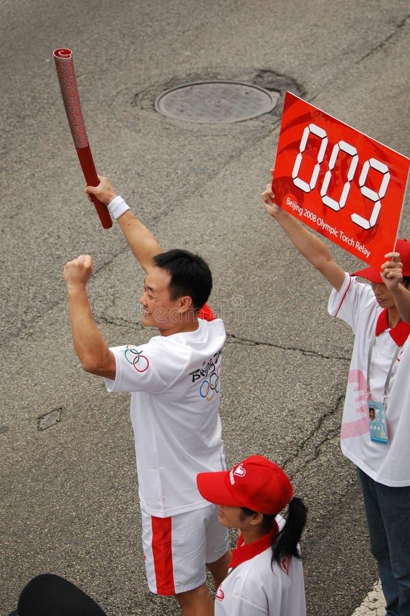 Olympisches Fackelrelais tritt weg in Guangzhou lizenzfreie stockfotografie