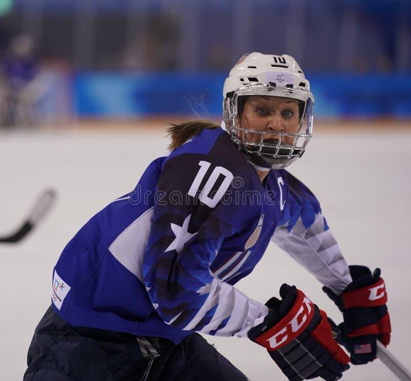 Olympisches Meister Team USA captain Meghan Duggan in der Aktion gegen Team Olympic Athlete von Russland lizenzfreie stockfotos