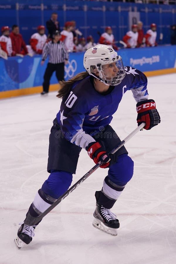Olympisches Meister Team USA captain Meghan Duggan in der Aktion gegen Team Olympic Athlete von Russland lizenzfreie stockbilder