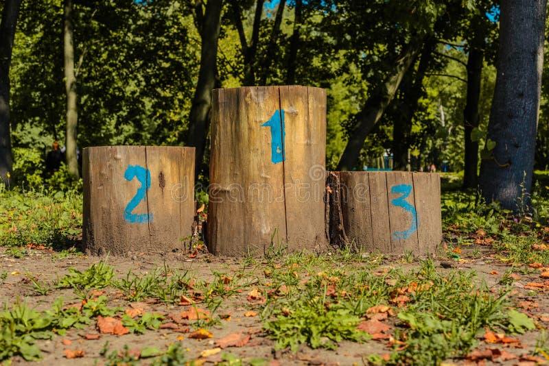 Olympisches Podium der Stümpfe in der Reinigung im Herbst lizenzfreies stockfoto