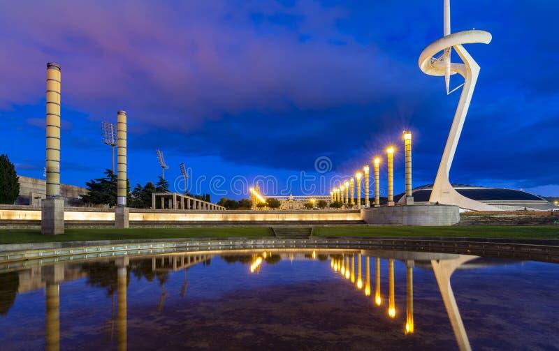 Olympisk cirkel Barcelona royaltyfri foto