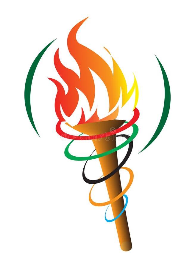 Olympisk fackla stock illustrationer