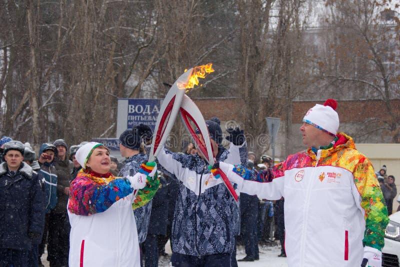 Olympisk flagga i Voronezh royaltyfri bild