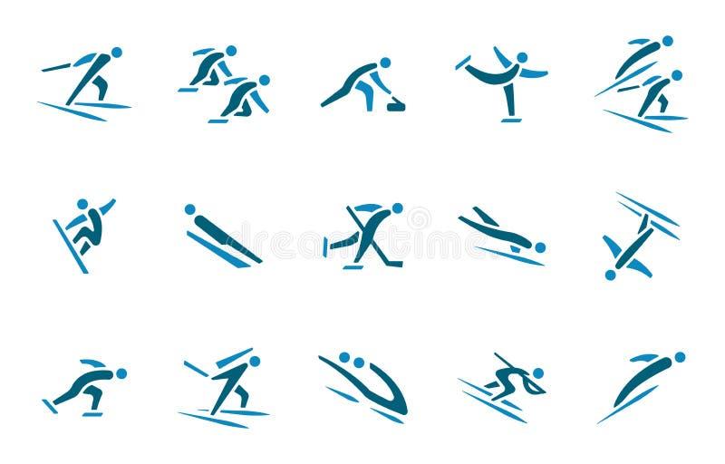 Olympisk uppsättning för symbol för vintersportar royaltyfri illustrationer